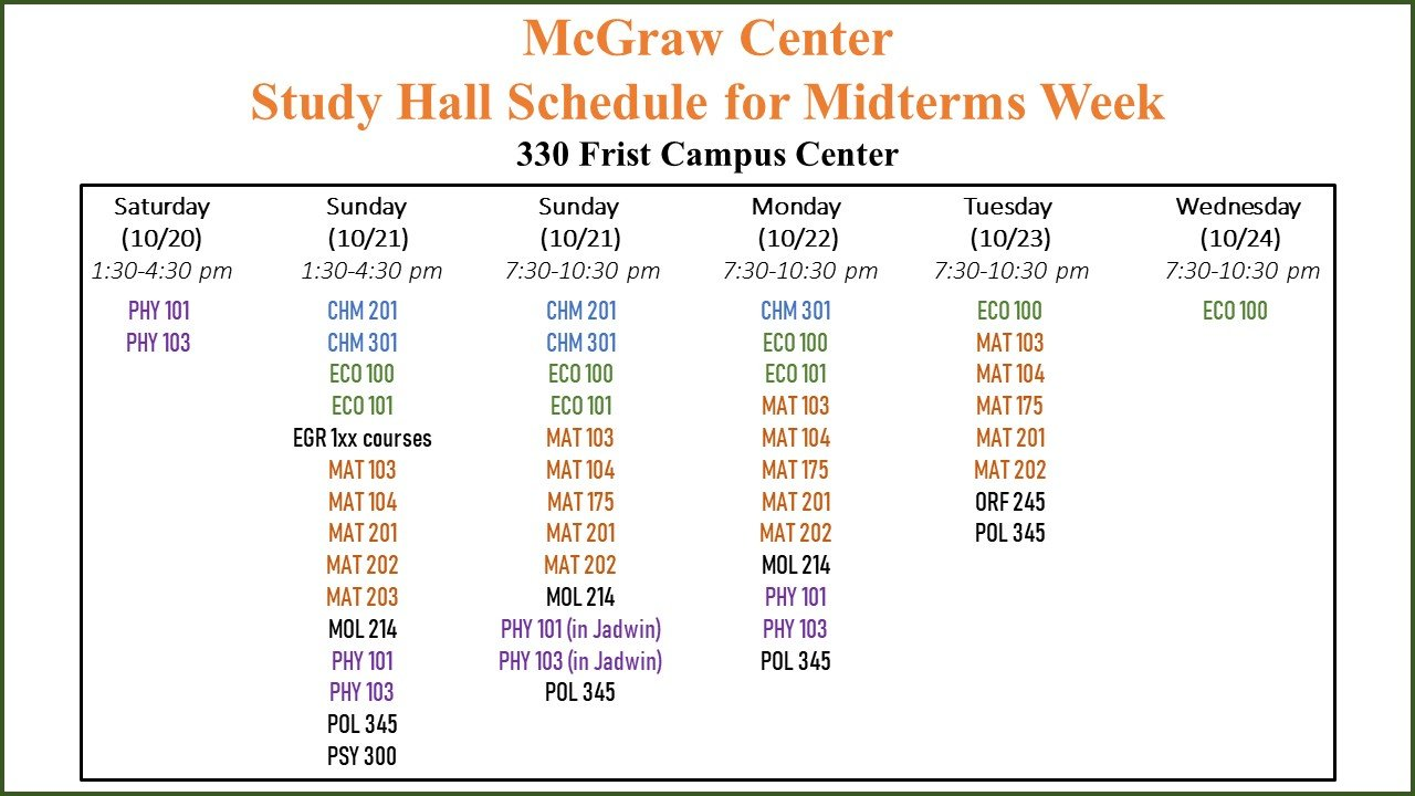 Fall 2018 Midterms Study Hall Schedule