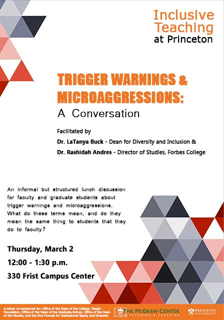 Trigger Warnings and Microaggressions A Conversation event