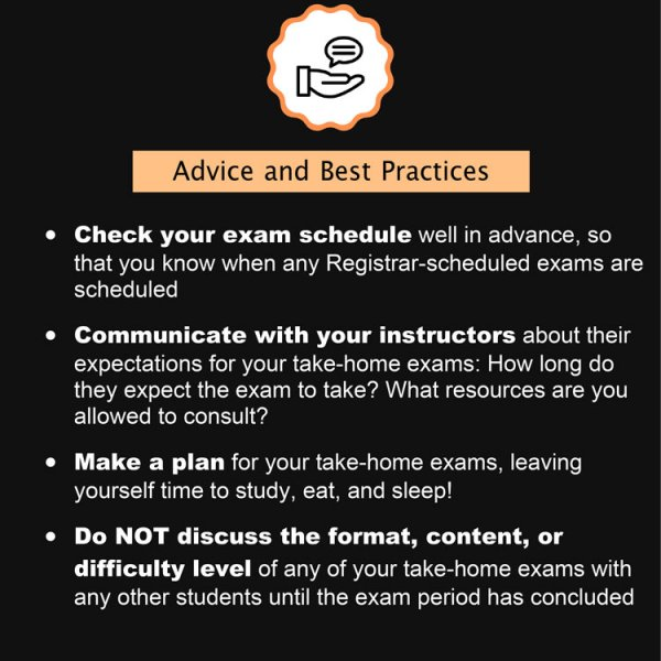 Advise and best practices Final Exam Policies Spring 2021