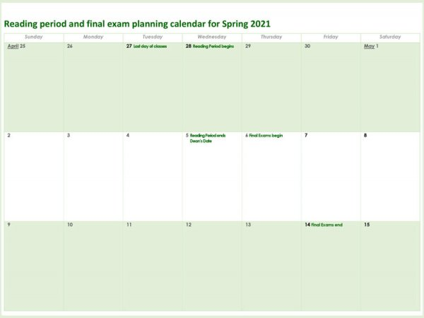 Reading Period and Final Exam Planning Calendar Spring 2021
