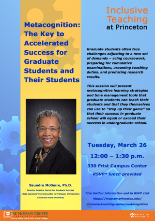 Metacognition: the Key to Accelerated Success for Graduate Students and their Students flyer