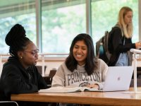 students studying in the Lewis Library